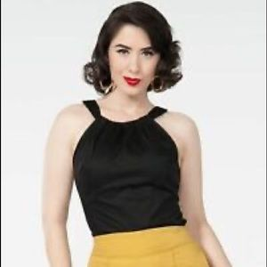 Pinup couture black Harley top small